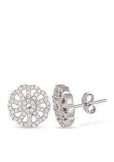 Belk Silverworks Sterling Silver White Cubic Zirconia Flower Earring