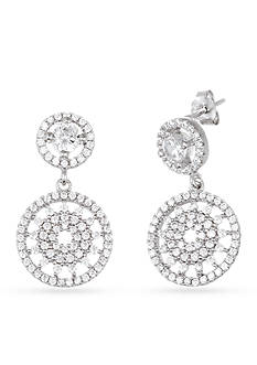 Belk Silverworks Sterling Silver with White CZ Round Floral Dangle Earrings