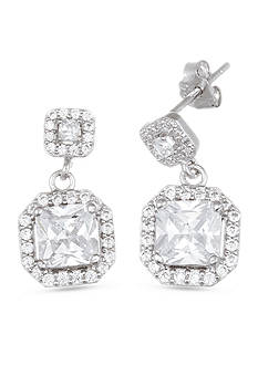Belk Silverworks Sterling Silver Cubic Zirconia Octagon Drop Earrings