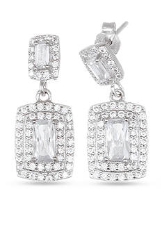 Belk Silverworks Sterling Silver Cubic Zirconia Regtangle Drop Earrings