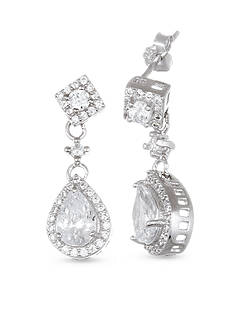 Belk Silverworks Sterling Silver White Cubic Zirconia Drop Earrings