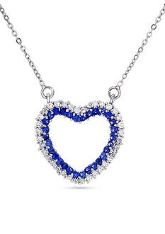Belk Silverworks Sterling Silver Blue and White Cubic Zirconia Heart Necklace