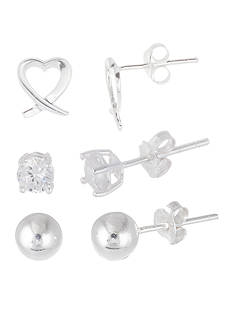 Belk Silverworks Sterling Silver Ball, CZ, and Open Heart Stud Earring Set