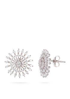 Belk Silverworks Rhodium-Plated Sterling Silver Cubic Zirconia Sun Button Earrings