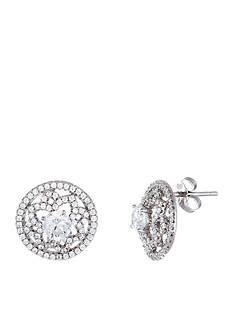 Belk Silverworks Rhodium Plated Sterling Silver Cubic Zirconia Flower Button Earrings