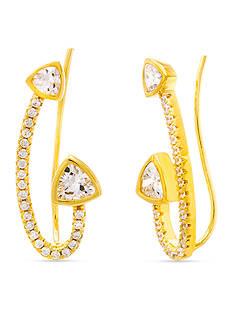 Belk Silverworks Gold-Tone Sterling Silver Cubic Zirconia Triangle Ear Crawler Earrings
