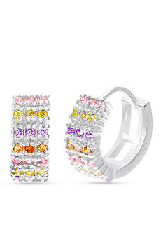 Belk Silverworks Sterling Silver Multi-Color Cubic Zirconia Huggie Earrings