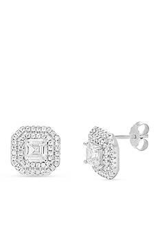 Belk Silverworks Rhodium Plated Sterling Silver Cubic Zirconia Stud Earring