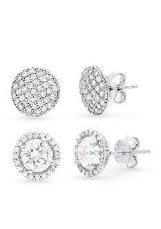 Belk Silverworks Rhodium-Plated Sterling Silver Cubic Zirconia Circle and Halo Button Earrings Set