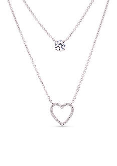 Belk Silverworks Sterling Silver Open Heart with Cubic Zirconia Layered Necklace