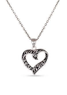 Belk Silverworks Sterling Silver Oxidized Open Heart Pendant Necklace