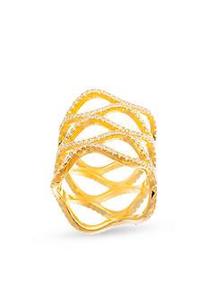 Belk Silverworks Gold-Tone Sterling Silver Cubic Zirconia Wide Wavy Shield Ring