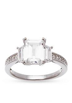 Belk Silverworks Rhodium-Plated Sterling Silver Emerald Cut Cubic Zirconia Engagement Ring