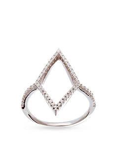 Belk Silverworks Rhodium-Plated Sterling Silver Cubic Zirconia Diamond Station Ring