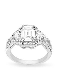 Belk Silverworks Rhodium-Plated Sterling Silver Princess Cut Cubic Zirconia Engagement Ring