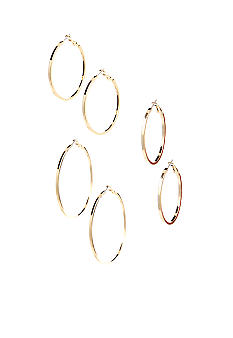 Red Camel Trio Set of Gold Hoop Earrings
