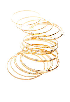 Red Camel 18-Piece Gold Bangle Bracelet Set