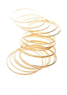 Red Camel 18 Piece Gold-Tone Bangle Bracelet Set