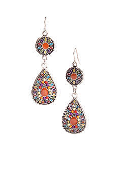 Red Camel Multi-Colored Teardrop Earrings