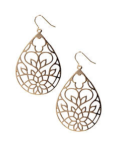 Red Camel Open Filigree Teardrop Earrings