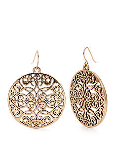 Red Camel Filigree Disc Earrings