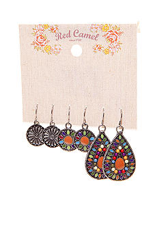 Red Camel Pierced Earrings Trio