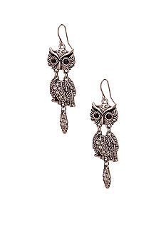 Red Camel Pierced Ear Owl with Stone Earrings