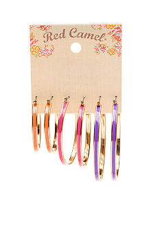 Red Camel Neon Trio Hoop Earrings