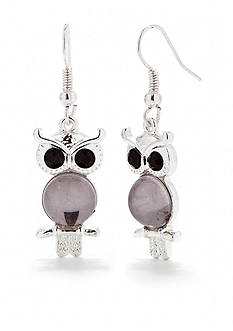 Red Camel Black Owl Drop Earrings
