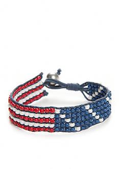 Red Camel Silver-Tone Americana Beaded Bracelet