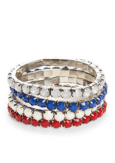 Red Camel Silver-Tone Americana Stretch Bracelet Set