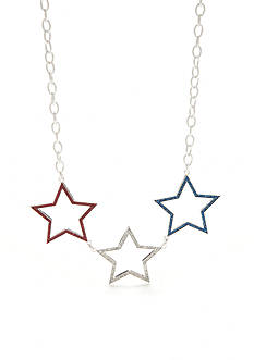 Red Camel Silver-Tone Americana Star Collar Necklace