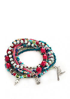 Red Camel Silver-Tone Boho Brights Stretch Bracelet Set