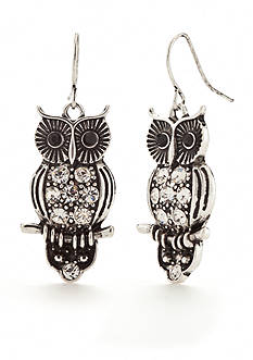 Red Camel Silver-Tone Boho Brights Owl Drop Earrings