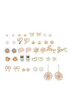 Red Camel Gold-Tone 'Love' Stud Earrings Set
