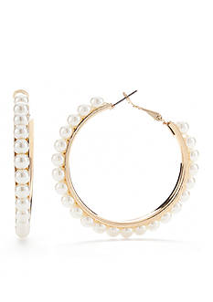 Red Camel Gold-Tone Precious Pastels Pearl Hoop Earrings