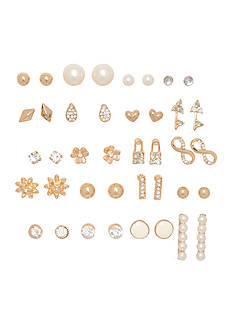 Red Camel Gold-Tone Crystal and Pearl Stud Earrings Set