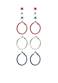 Red Camel Silver-Tone Americana Hoop and Stud Earring Set