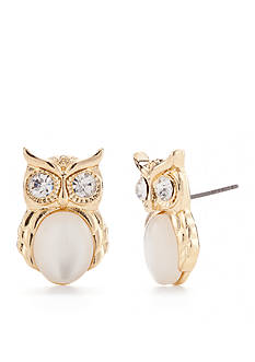 Red Camel Gold-Tone Precious Pastels Owl Button Earrings