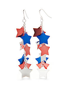 Red Camel Silver-Tone Americana Star Linear Earrings