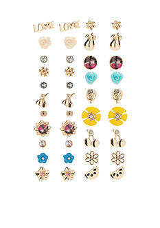 Red Camel Gold-Tone Poppy Bright Stud Earring Set
