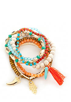 Red Camel Gold-Tone Boho Brights 7-Piece Stretch Bracelet Set
