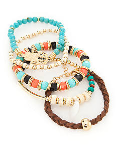Red Camel Gold-Tone 5-Piece Southwest Beaded Stretch Bracelet Set