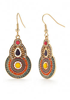 Red Camel Gold-Tone Boho Brights Drop Earrings