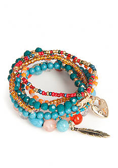 Red Camel Gold-Tone Beaded Charm Stretch Bracelet Set
