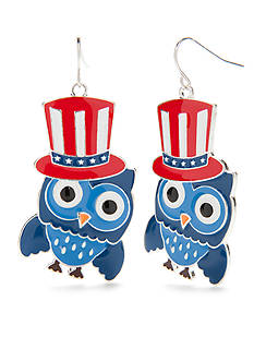 Red Camel Silver-Tone Americana Owl Drop Earrings