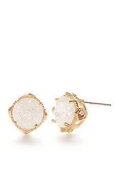Red Camel Gold-Tone White Flower Stud Earrings