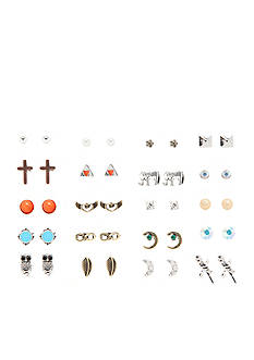 Red Camel Silver-Tone Desert Dreaming 20-Piece Stud Earring Set