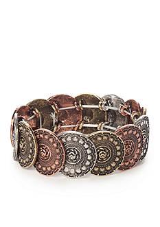 Red Camel Tri-tone Coin Stretch Bracelet