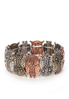 Red Camel Tri-Tone Owl Stretch Bracelet